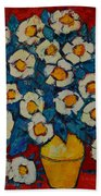Abstract Wild White Roses Original Oil Painting Beach Towel