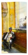 Accordeonist In Florence In Italy Beach Towel