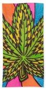 Aceo Cannabis Abstract Leaf  Beach Towel