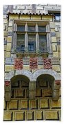 Achitecture Of The Little Castle Within Cesky Krumlov In The Czech Republic Beach Towel