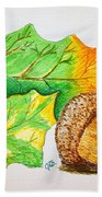 Acorn And Leaves Beach Towel