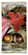 Acorns And Oak Leaves Beach Towel