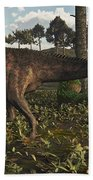 Acrocanthosaurus Dinosaur Roaming Beach Towel