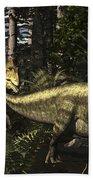 Acrocanthosaurus Hunting Tenontosaurus Beach Towel