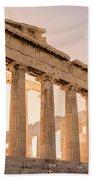 Acropolis Parthenon At Sunset Beach Towel