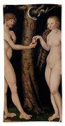 Adam And Eve In The Garden Of Eden Beach Towel