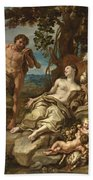 Adam And Eve With The Infants Cain And Abel Beach Towel