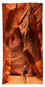 Adam Jewell In Buckskin Slot Canyon Beach Towel