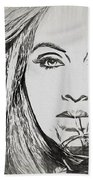 Adele Charcoal Sketch Beach Towel