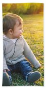 Adorable Baby Playing Outdoors Beach Towel