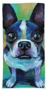 Adorable Boston Terrier Dog Beach Towel