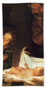 Adoration Of The Baby Beach Towel by Gerrit van Honthorst