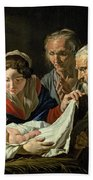 Adoration Of The Infant Jesus Beach Towel