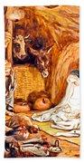 Adoration Of The Shepherds Nativity Beach Towel