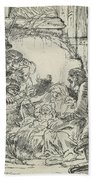 Adoration Of The Shepherds, With Lamp Beach Towel