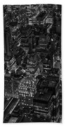 Aerial New York City Skyscrapers Bw Beach Towel