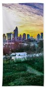 Aerial Of Charlotte North Carolina Skyline Beach Towel