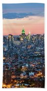 Aerial Of Midtown Manhattan With Empire State Building, New York Beach Towel