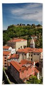 Aerial Of Piran Slovenia On Gulf Of Trieste Adriatic Sea With St Beach Towel