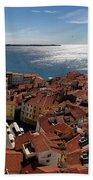 Aerial Panorama Of Piran Slovenia On Adriatic Sea With Marina An Beach Towel