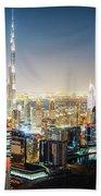 Aerial Panorama View Of Dubai By Night Beach Towel