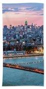 Aerial Panoramic Of Midtown Manhattan At Dusk, New York City, Us Beach Towel