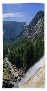 Aerial View From The Top Of The Upper Yosemite Fall Beach Towel