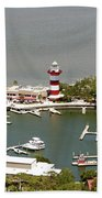Aerial View Harbour Town Lighthouse In Hilton Head Island Beach Towel