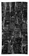 Aerial View Midtown Manhattan Nyc Bw Beach Towel