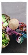 Aerial View Of A Vietnamese Traditional Seller On The Bicycle With Bags Full Of Vegetables Beach Towel