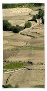 Aerial View Of Green Ladakh Agricultural  Landscape Beach Towel