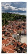 Aerial View Of Piran Slovenia On The Adriatic Sea Coast With Har Beach Towel