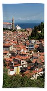 Aerial View Of Piran Slovenia With St George's Cathedral On The  Beach Towel