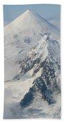 Aerial View Of Shishaldin Volcano Beach Towel by Richard Roscoe
