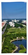 Aerial View Of The National Mall And Washington Monument Beach Towel