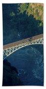 Aerial View Of Victoria Falls Suspension Bridge Beach Towel