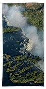 Aerial View Of Victoria Falls With Bridge Beach Towel
