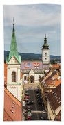 Aerial View Of Zagreb In Croatia Beach Towel