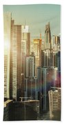 Aerial View Over Dubai's Towers At Sunset.  Beach Towel