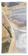 Aerial View Over The Building Materials Processing Factory. Beach Towel