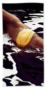 African American Woman In Bikini Lying In Black Water Beach Towel