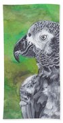 African Grey Parrot Beach Towel