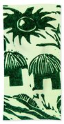 African Huts Beach Towel by Caroline Street