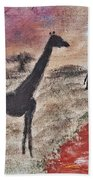 African Landscape Giraffe And Banya Tree At Watering Hole With Mountain And Sunset Grasses Shrubs Sa Beach Towel