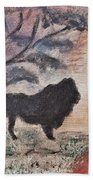 African Landscape Lion And Banya Tree At Watering Hole With Mountain And Sunset Grasses Shrubs Safar Beach Towel