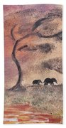 African Landscape Three Elephants And Banya Tree At Watering Hole With Mountain And Sunset Grasses S Beach Towel