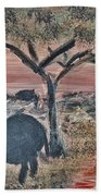 African Landscape With Elephant And Banya Tree At Watering Hole With Mountain And Sunset Grasses Shr Beach Sheet