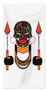 African Motive Background With Ornament Details And Spears  Beach Towel