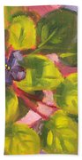 African Violet Still Life Oil Painting Beach Towel