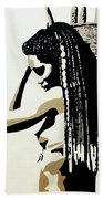 African Woman With Basket Beach Towel